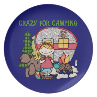 Blond Girl Crazy For Camping Dinner Plate