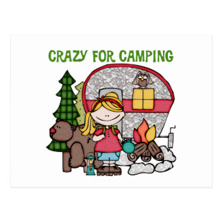 Blond Girl Crazy For Camping Postcard