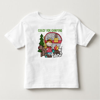 Blond Girl Crazy For Camping Toddler T-shirt