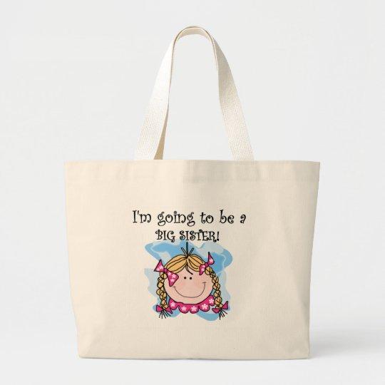 Blond Girl Future Big Sister Large Tote Bag
