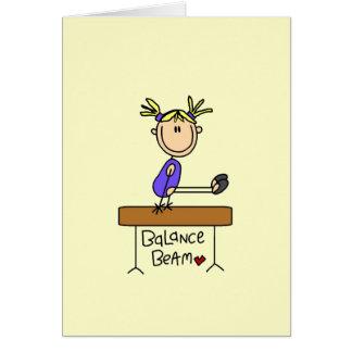 Blond Girl Gymnast on Balance Beam Greeting Cards