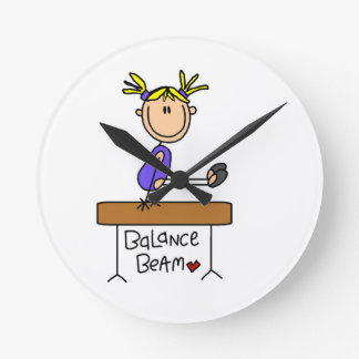 Blond Girl Gymnast on Balance Beam Round Clocks