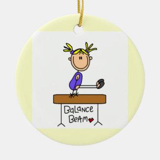 Blond Girl Gymnast on Balance Beam Double-Sided Ceramic Round Christmas Ornament