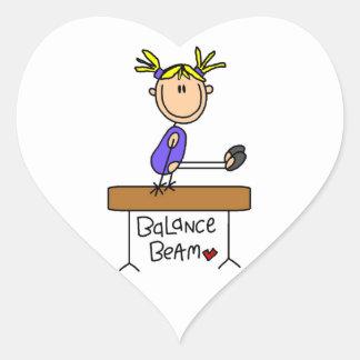 Blond Girl Gymnast on Balance Beam Heart Sticker
