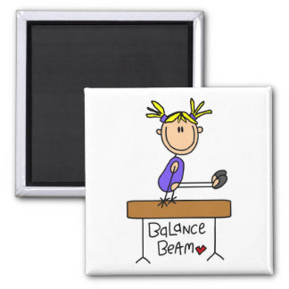 Blond Girl Gymnast on Beam Tshirts and Gifts 2 Inch Square Magnet
