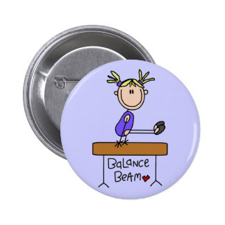 Blond Girl Gymnast on Beam Tshirts and Gifts Button