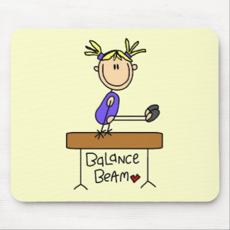 Blond Girl Gymnast on Beam Tshirts and Gifts Mouse Pad