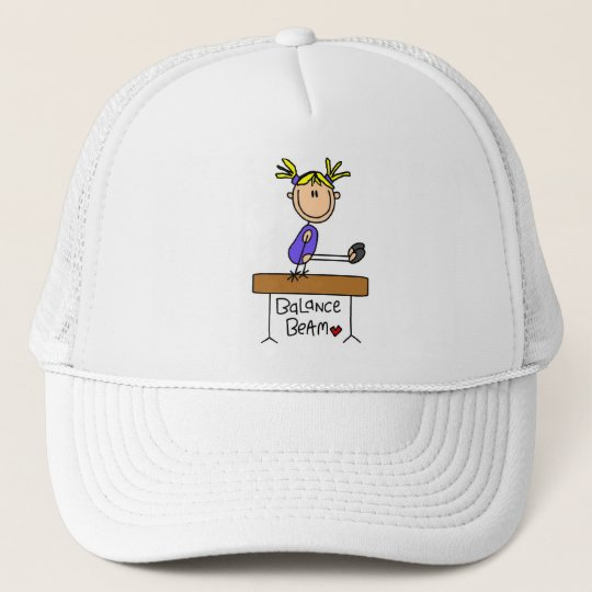 Blond Girl Gymnast on Beam Tshirts and Gifts Trucker Hat