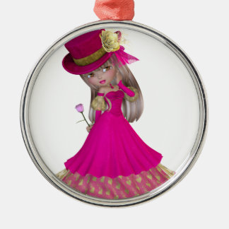 Blond Girl Holding a Pink Rose Round Metal Christmas Ornament