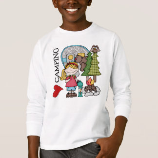 Blond Girl I Love Camping T-Shirt