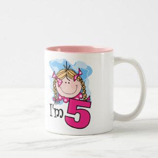 Blond Girl I'm Five Two-Tone Coffee Mug