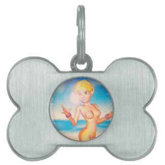 Blond Girl on Beach Pet Name Tag