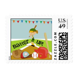 Blond Girl Softball Postage Stamps