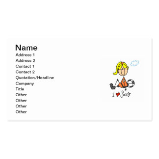 Blond Girl Stick Figure I Love Soccer Gifts Business Card Template