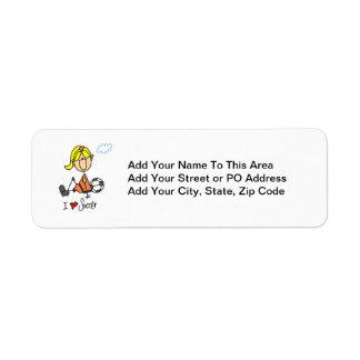 Blond Girl Stick Figure I Love Soccer Gifts Return Address Label