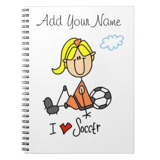 Blond Girl Stick Figure I Love Soccer Gifts Spiral Notebook