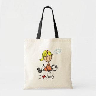 Blond Girl Stick Figure I Love Soccer Gifts Tote Bag