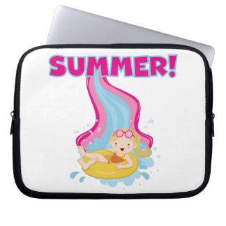 Blond Girl Summer Laptop Sleeve