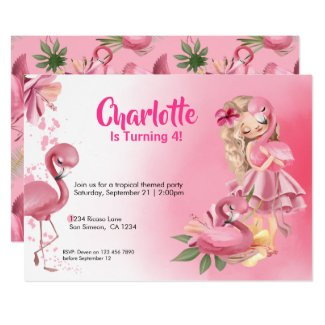 Blond Girl Tropical Pink Flamingo Birthday Invitation