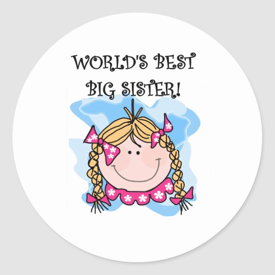 Blond Girl World's Best Big Sister Classic Round Sticker