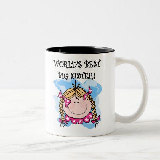 Blond Girl World's Best Big Sister Two-Tone Coffee Mug