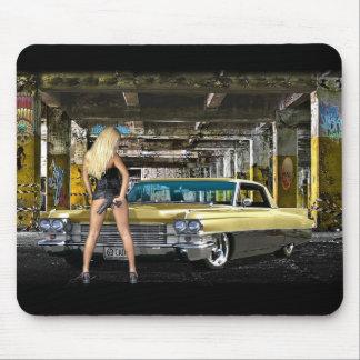 blond,gun,cadillac mouse pad