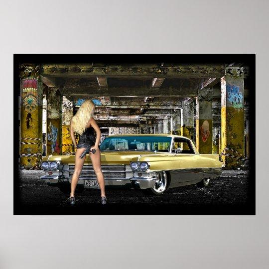 blond,gun,cadillac poster