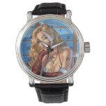 Blond Hair, Blue Eyed Beauty Illustration - Al Rio Wristwatch