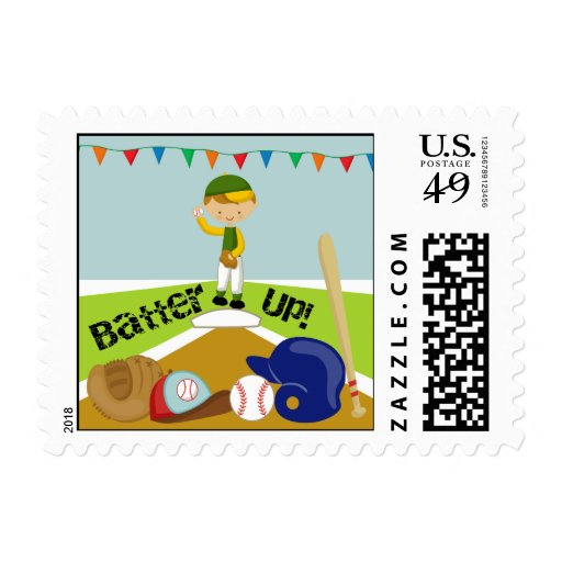 Blond Hair Boy Batter Up Baseball Postage Stamps