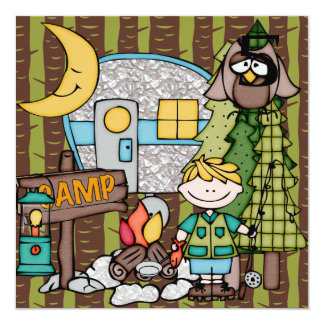 "Blond Hair Boy Camping Birthday Invitations 5.25"" Square Invitation Card"