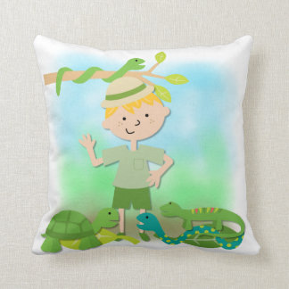 Blond Hair Boy on Safari Pillow