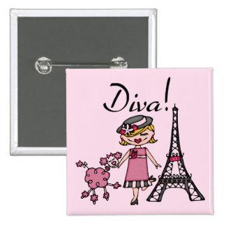 Blond Hair Diva Pinback Buttons