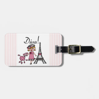 Blond Hair Diva Luggage Tag