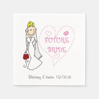 Blond Hair Future Bride  Paper  Napkins Standard Cocktail Napkin