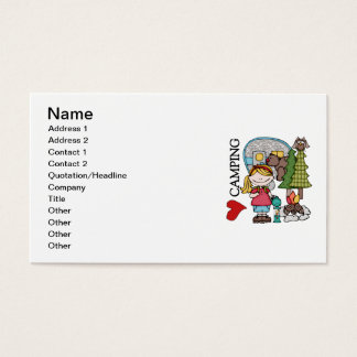 Blond Hair Girl I Love Camping Business Card