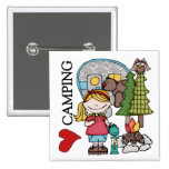 Blond Hair Girl I Love Camping 2 Inch Square Button