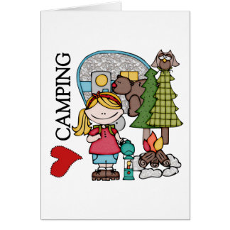 Blond Hair Girl I Love Camping Card