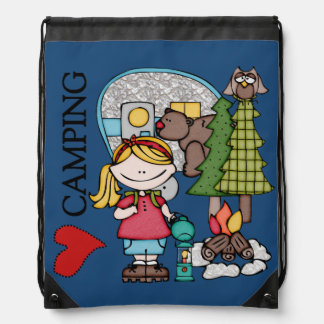 Blond Hair Girl I Love Camping Drawstring Bag