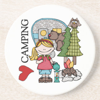 Blond Hair Girl I Love Camping Drink Coaster