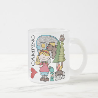 Blond Hair Girl I Love Camping Frosted Glass Coffee Mug