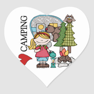 Blond Hair Girl I Love Camping Heart Sticker