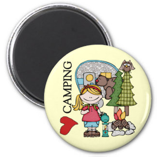 Blond Hair Girl I Love Camping Refrigerator Magnet