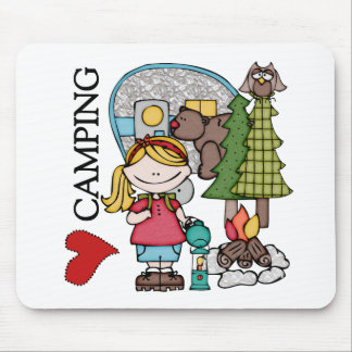 Blond Hair Girl I Love Camping Mousepad