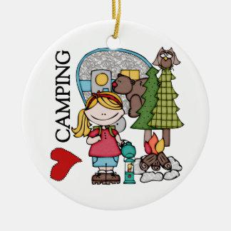 Blond Hair Girl I Love Camping Christmas Tree Ornament