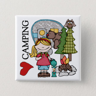 Blond Hair Girl I Love Camping Pinback Button