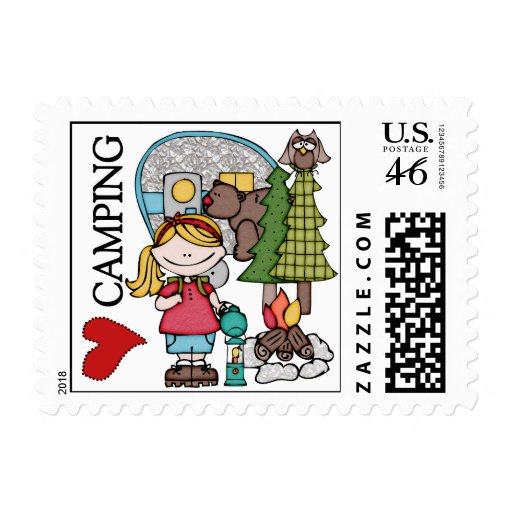 Blond Hair Girl I Love Camping Stamp