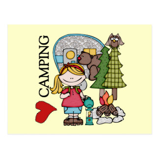 Blond Hair Girl I Love Camping Postcard