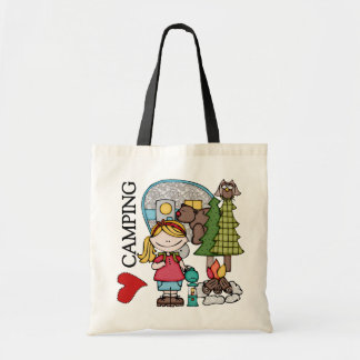 Blond Hair Girl I Love Camping Tote Bag
