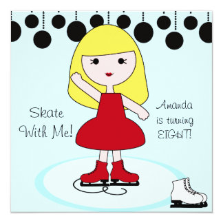 "Blond Hair Girl Ice Skating Party Invitations 5.25"" Square Invitation Card"