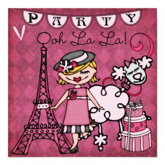 "Blond Hair Girl Ooh La La Paris Birthday Invite 5.25"" Square Invitation Card"